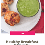 muffins on a white plate and a green smoothie in a glass